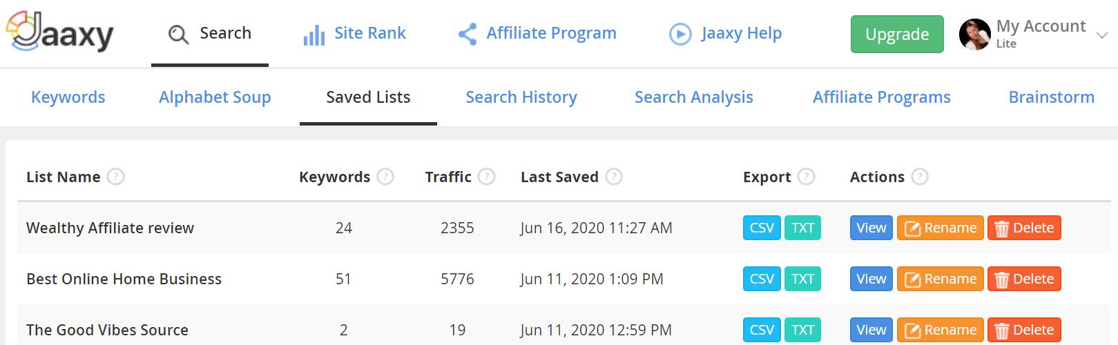 Jaaxy-Saved-Lists