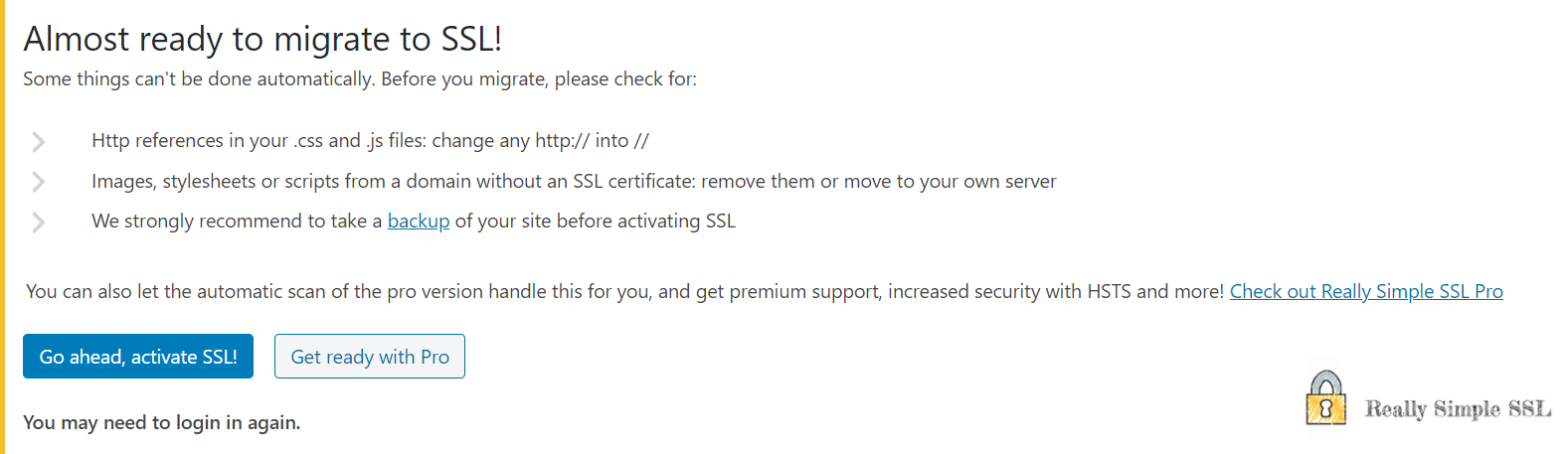 Activating SSL certificate